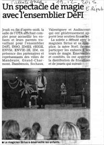 Spectacle de Noël Sirius L'illusionniste - Valentigney 2015 - Magie