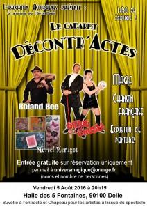 Affiche cabaret 5 aout Halle 5 fontaines Delle - Sirius - Venusia - Magicien illusionniste - Spectacle